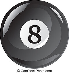 Illustration of an eight ball used in the game of pool or billiards.