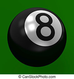 Eight Ball in Focus on Green Backgr
