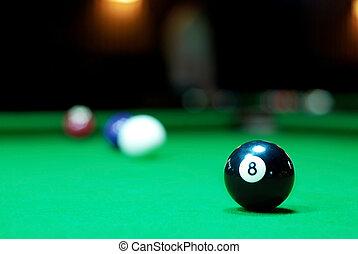 Eight ball on pool table - Billiards balls on the green pool...