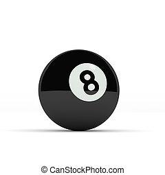 Eight ball on white
