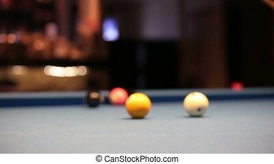 Eight-ball pool billiards player hesitates next shot -...