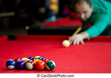 Eight balls billiards. Picture shoot with short focus for ...