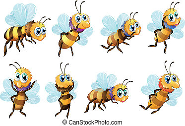 Eight bees in different positions - Illustration of the...