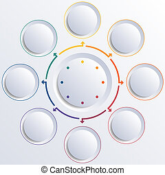 Eight circles round circle - Template for infographic...