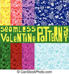 Eight colored seamless patterns with ornament with hearts