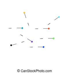 Eight colour needles.Vector