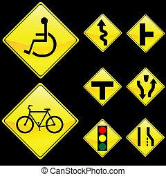 Eight Diamond Shape Yellow Road Signs Set 3
