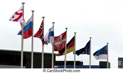 Eight European flags waving so fast in the pole