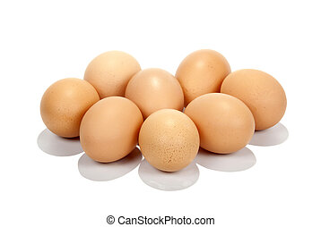 Eight Freshly-Laid Brown Eggs on White Background
