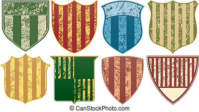 Eight Grunge Striped Shields