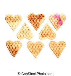 Eight heart shaped waffles