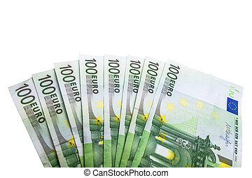 Eight hundred euro bills from slightly above on white