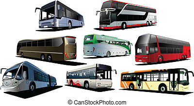 Eight kinds of buses. Vector illustration - Eight kinds of...
