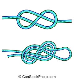 eight knot and double 8 knot instruction against white background, vector art illustration