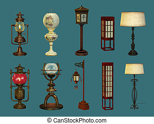 Eight Lamps and Two Lanterns - eight different lamps and two...