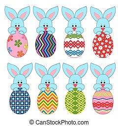 Eight little Bunnies with Easter eggs