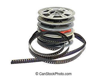 eight millimeter - still life of stack of dirty, old 8mm...
