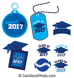 Class of 2017 - Eight mnemonics on Class of 2017 in blue