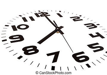 Eight o'clock - Clock isolated on white marking the eight o'...
