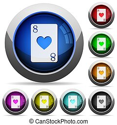 Eight of hearts card round glossy buttons