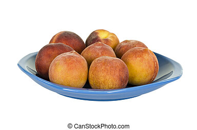 Eight Peaches on Plate
