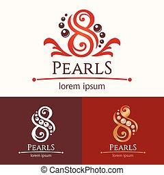 Eight pearls emblem template design set