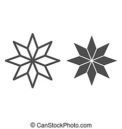 Eight-pointed star line and glyph icon. Christmas tree star vector illustration isolated on white. Xmas decoration outline style design, designed for web and app. Eps 10.