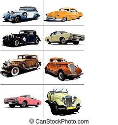 Eight rarity cars fifty ears old. Sedan, cabriolet with ...