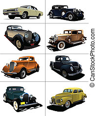 Eight rarity cars fifty ears old. Sedan, cabriolet with closed roof. Vector illustration