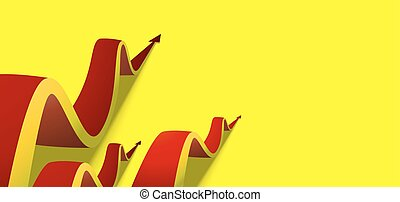 eight red arrows going up on yellow background