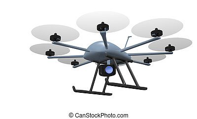 eight rotor drone with camera tracking object