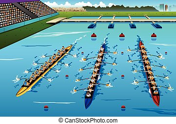 Eight Rowers Rowing in the Competition - A vector...