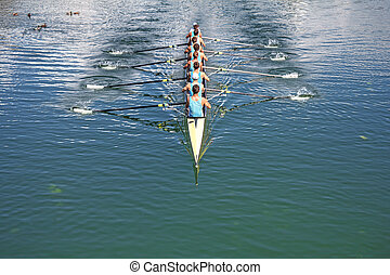 Eight Rowers training rowing - Boat coxed eight Rowers...