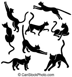 Eight silhouettes of funny cats - Set of eight black vector...