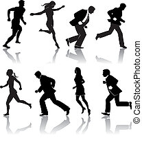 eight silos of people running in vector format