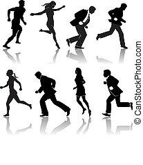people running - eight silos of people running in vector ...