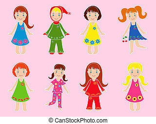 Eight small girls in various garments on a pink background,...