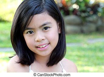 Asian Girl - Eight Year Old Asian Girl Outdoors