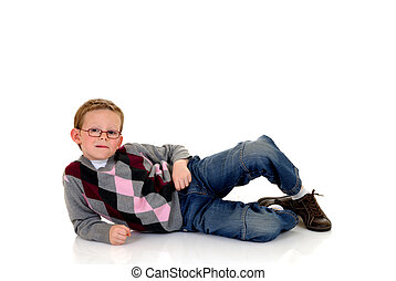 Eight year young boy casual dressed, happy expression on ...