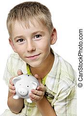 boy with big piggy bank