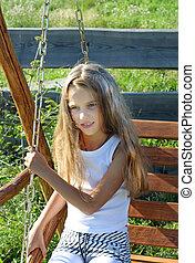 Eight years old girl - Eight years old long hair girl posing...