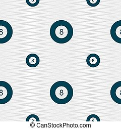 Eightball, Billiards icon sign. Seamless pattern with geometric texture. Vector