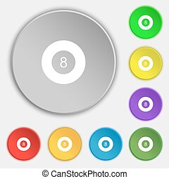 Eightball, Billiards icon sign. Symbol on eight flat buttons. Vector
