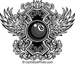 eightball, ornate, gráfico, bilhar