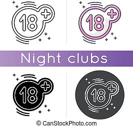 Eighteen plus icon. Linear black and RGB color styles. Adults only, 18 years old, age restriction rule. Access limitation sign. Mature content warning, prohibition sign isolated vector illustrations