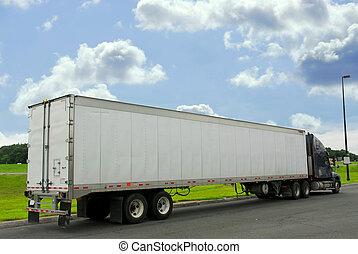 Eighteen wheeler truck on a truck stop