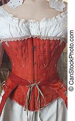 eighteenth century undergarments , red and white corset