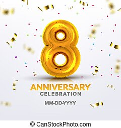 Eighth Anniversary Birth Celebration Number Vector