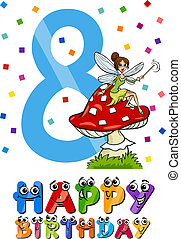 eighth birthday cartoon design