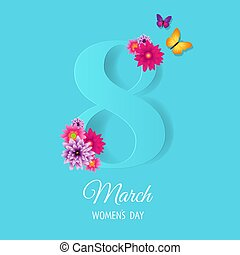 Eighth March Card With Flowers